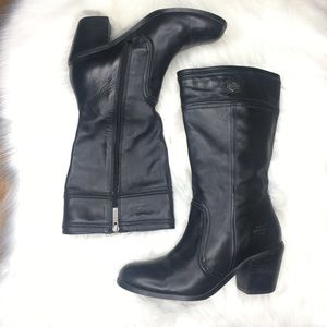 Harley Davidson Black Leather Heel Boots